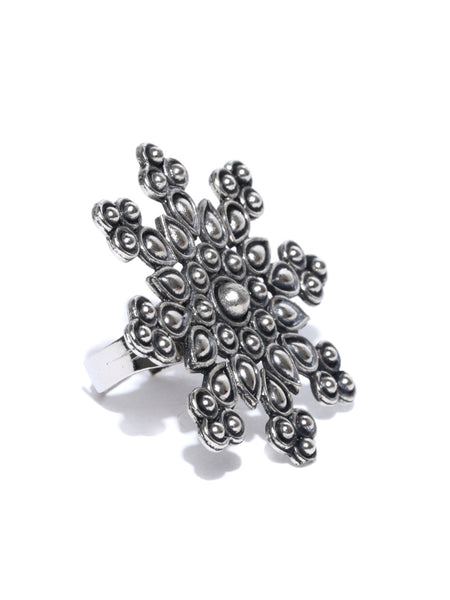 Infuzze  Oxidised Silver-Toned Textured Adjustable Ring