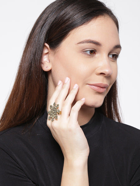 Infuzze  Antique Gold-Toned Textured Adjustable Ring - N002