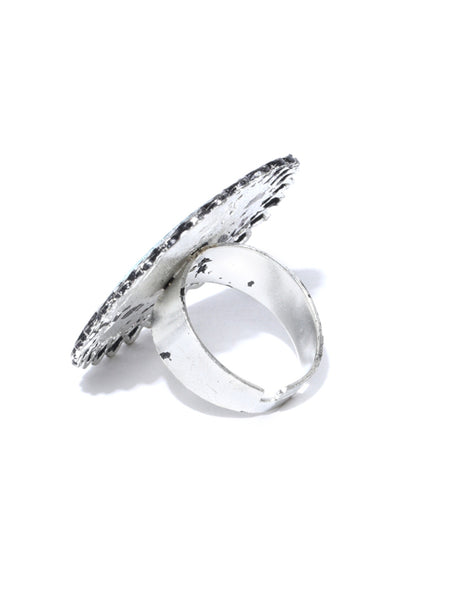 Infuzze  Oxidised Silver-Toned Mirror Adjustable Ring - N003