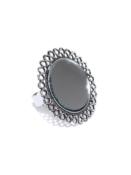 Infuzze  Oxidised Silver-Toned Mirror Adjustable Ring