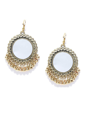 Infuzze Antique Gold-Toned Circular Mirror Drop Earrings