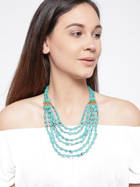 Infuzze Turquoise Blue Beaded Layered Necklace - N039