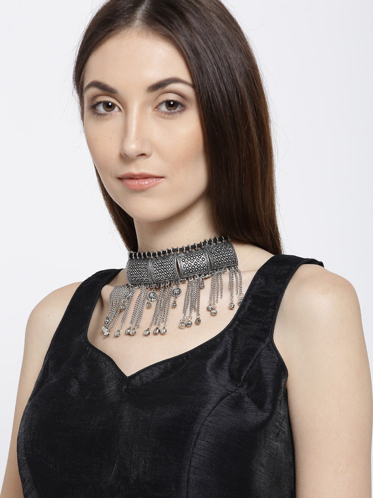 Infuzze Oxidised Silver-Toned Metal Choker Necklace - P006