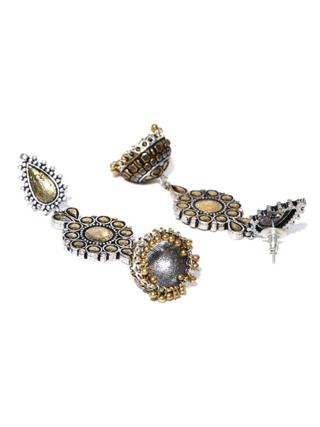 Infuzze Oxidised Silver-Toned & Gold-Toned Dome Shaped Drop Earrings - P021