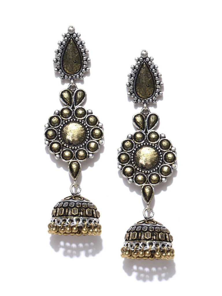Infuzze Oxidised Silver-Toned & Gold-Toned Dome Shaped Drop Earrings