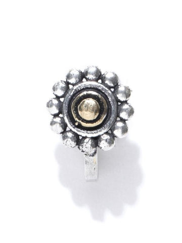 Infuzze Oxidised Silver-Toned & Gold-Toned Textured Tribal Nosepin
