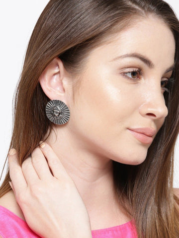 Infuzze Oxidised Silver-Toned Textured Circular Oversized Studs