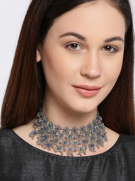 Infuzze Oxidised Silver-Toned Necklace - P039
