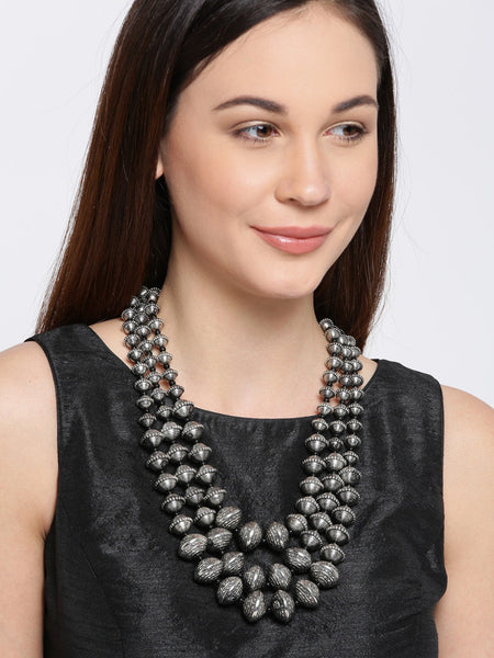 Infuzze Silver-Toned Metal Layered Necklace - P047