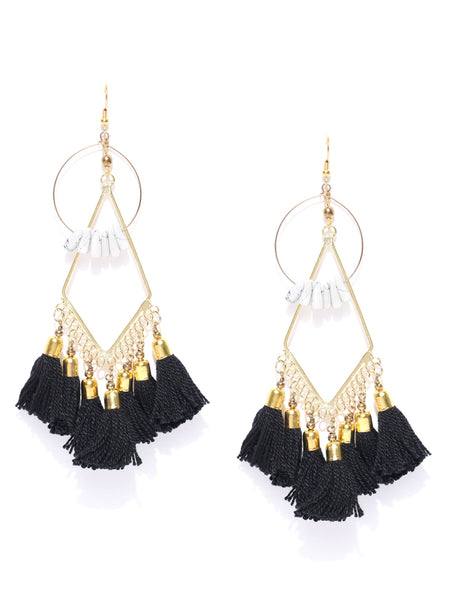 Infuzze Black & Gold-Toned Tasselled Geometric Beaded Drop Earrings - P077