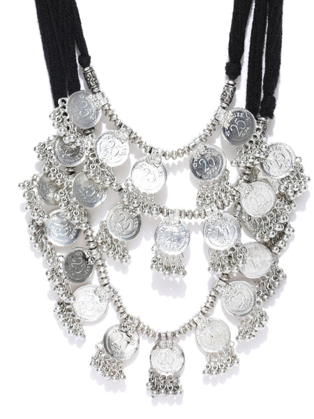 Infuzze Silver-Toned Layered Afghan Necklace - P093