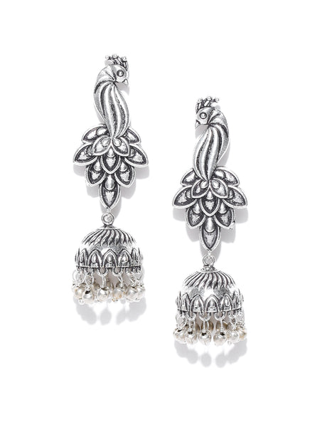 Infuzze Silver-Toned Brass-Plated Oxidized Peacock-Shaped Jhumkas - PR0006