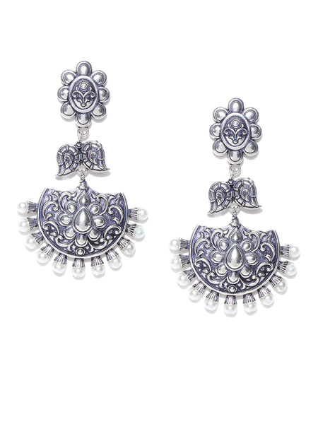 Infuzze Oxidised Silver-Toned & White Brass-Plated Beaded Crescent-Shaped Chandbalis - PR0008