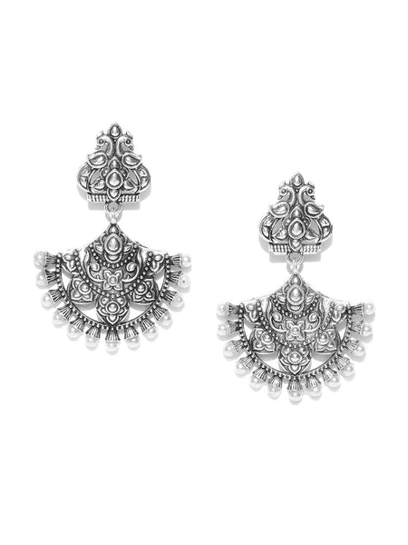 Infuzze Oxidised Silver-Toned Brass-Plated Beaded Textured Classic Drop Earrings - PR0009