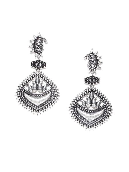 Infuzze Oxidised Silver-Toned Brass-Plated Textured Paisley Shaped Drop Earrings - PR0014