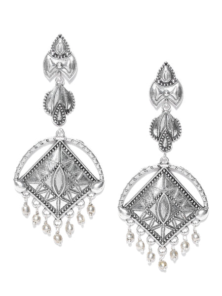 Infuzze Oxidised Silver-Toned Brass-Plated Textured Classic Drop Earrings - PR0017