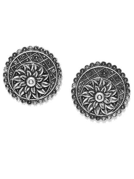 Infuzze Oxidised Silver-Toned Circular Drop Earrings - PR0022