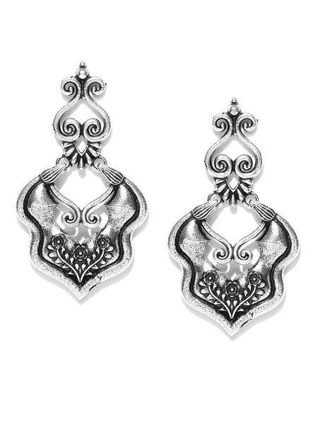 Infuzze Oxidised Silver-Toned Classic Drop Earrings - PR0025