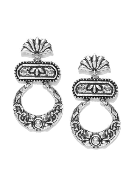 Infuzze Oxidised Silver-Toned Brass-Plated Crescent-Shaped Chandbalis - PR0035