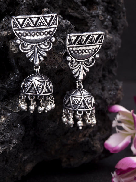 Infuzze Oxidised Silver-Toned Brass-Plated Textured Dome Shaped Jhumkas - PR0037