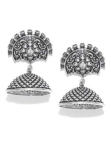 Infuzze Oxidised Silver-Toned Brass-Plated Textured Dome Shaped Jhumkas - PR0038