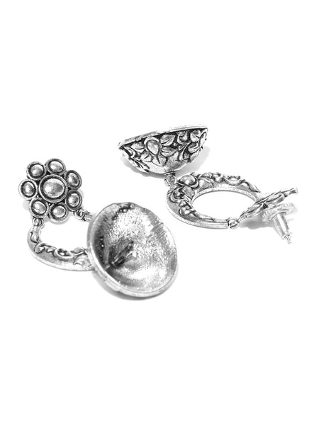 Infuzze Oxidised Silver-Toned Dome Shaped Jhumkas - PR0039