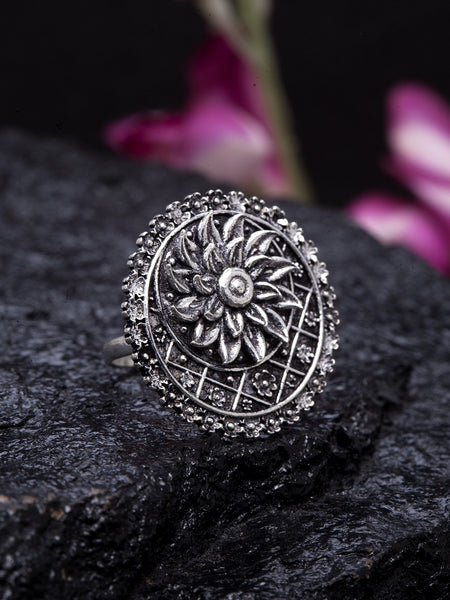 Infuzze Oxidised Silver-Toned Brass-Plated Adjustable Floral Finger Ring - PR0041