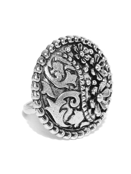 Infuzze Oxidised Silver-Toned Brass-Plated Adjustable Floral Finger Ring - PR0042