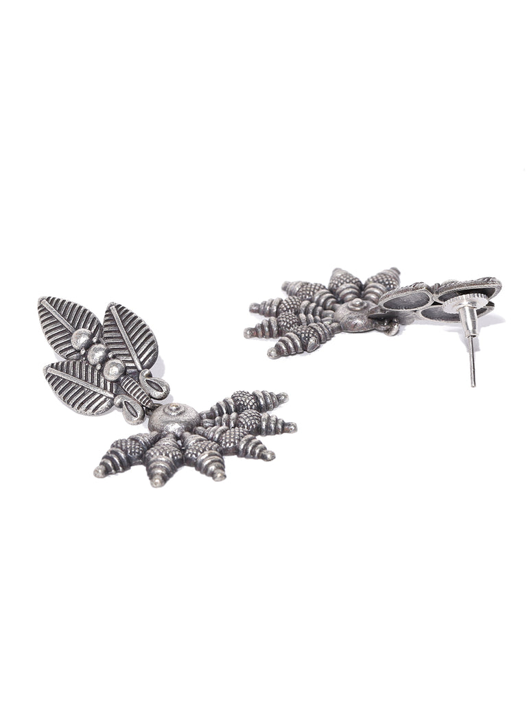 Infuzze Oxidised Silver-Plated Leaf Shaped Textured Drop Earrings - PR0047
