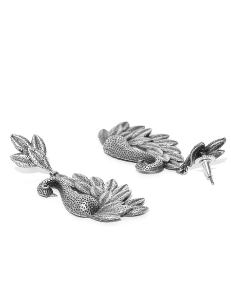 Infuzze Silver-Plated Oxidised Peacock Shaped Drop Earrings - PR0049