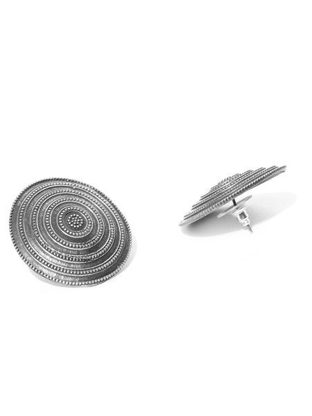 Infuzze Oxidised Silver-Plated Textured Circular Oversized Studs - PR0050