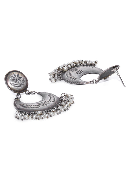 Infuzze Silver-Plated Beaded Oxidised Crescent Shaped Chandbalis - PR0051
