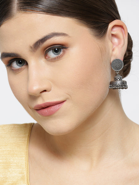 Infuzze Gunmetal-Toned Oxidised Silver-Plated Textured Dome Shaped Jhumkas - PR0053