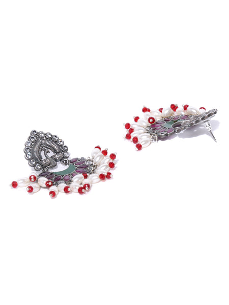 Infuzze Purple Silver-Plated Stoned Studded Beaded Oxidised Peacock Shaped Drop Earrings - PR0056
