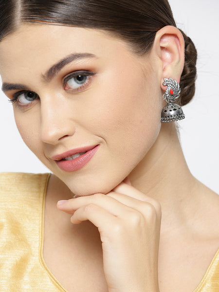 Infuzze Red Oxidised Silver-Plated Stone-Studded Dome Shaped Jhumkas - PR0058