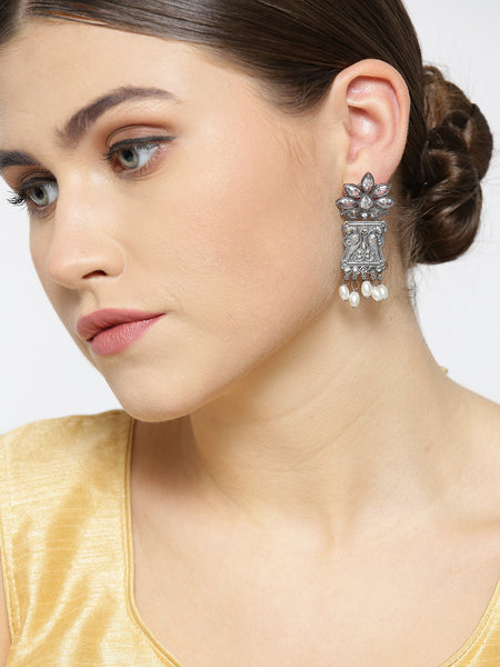 Infuzze White Oxidised Silver-Plated Stone-Studded Peacock Shaped Drop Earrings - PR0061