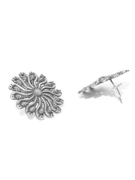 Infuzze Oxidised Silver-Plated Textured Peacock Shaped Oversized Studs - PR0064