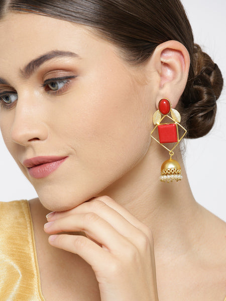 Infuzze Red Gold-Plated Stone-Studded Geometric Handcrafted Drop Earrings - PR0067