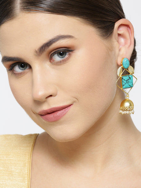 Infuzze Turquoise Blue Gold-Plated Stone-Studded Geometric Handcrafted Drop Earrings - PR0068