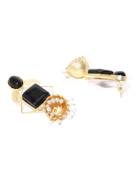 Infuzze Black Gold-Plated Stone-Studded Geometric Handcrafted Drop Earrings - PR0069
