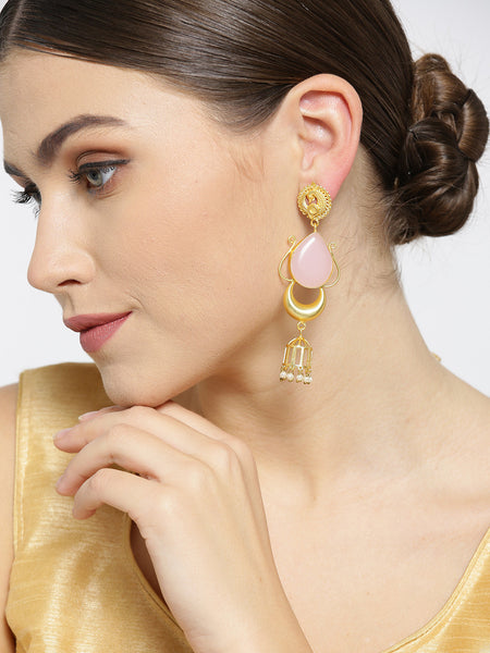 Infuzze Light Pink Gold-Plated Stone-Studded Teardrop Shaped Handcrafted Drop Earrings - PR0072