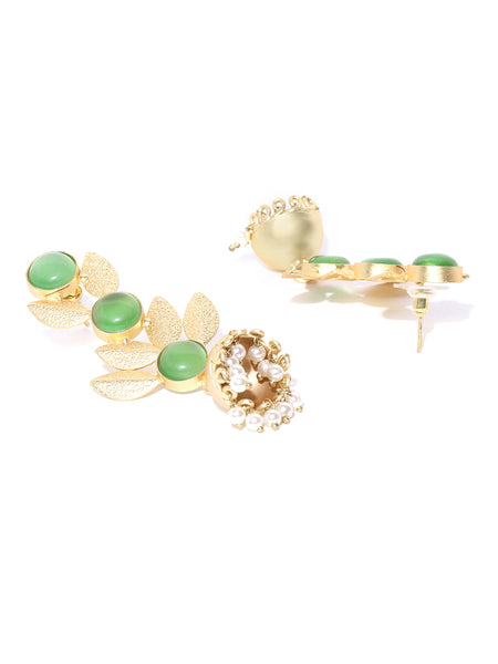 Infuzze Green Gold-Plated Stone-Studded Handcrafted Leaf Shaped Drop Earrings - PR0074