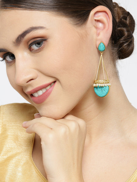 Infuzze Turquoise Blue Gold-Plated Stone-Studded Geometric Handcrafted Drop Earrings - PR0075