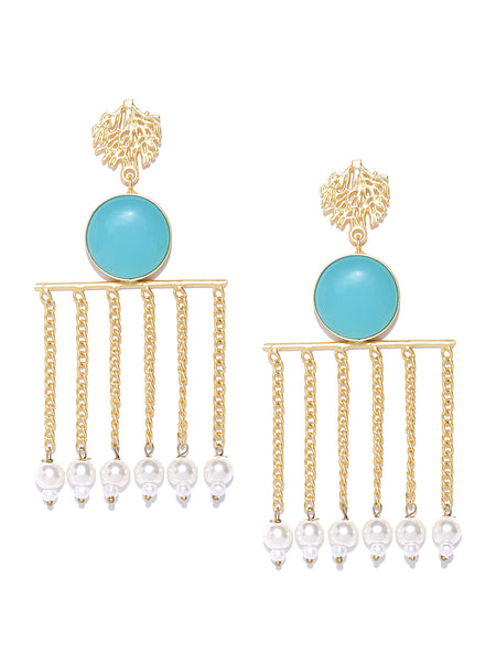 Infuzze Blue Gold-Plated Handcrafted Stone Studded Beaded Contemporary Drop Earrings - PR0077