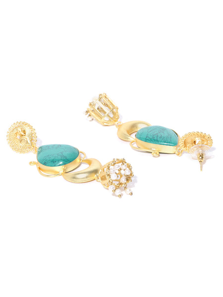 Infuzze Turquoise Blue Gold-Plated Stone-Studded Teardrop Shaped Handcrafted Drop Earrings - PR0078