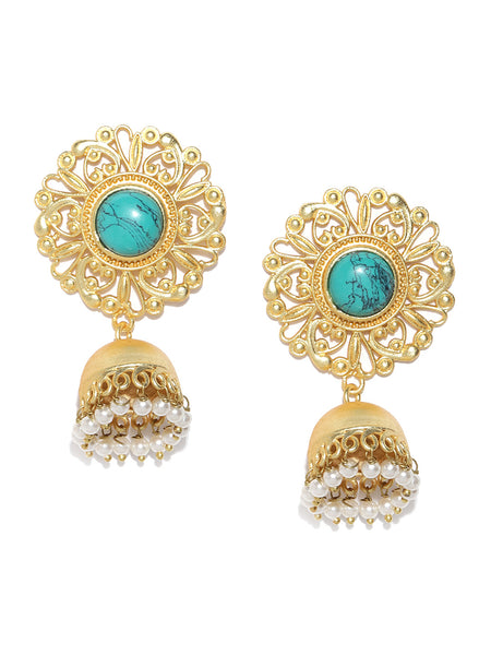 Infuzze Turquoise Blue Gold-Plated Handcrafted Stone Studded Beaded Dome Shaped Jhumkas - PR0080