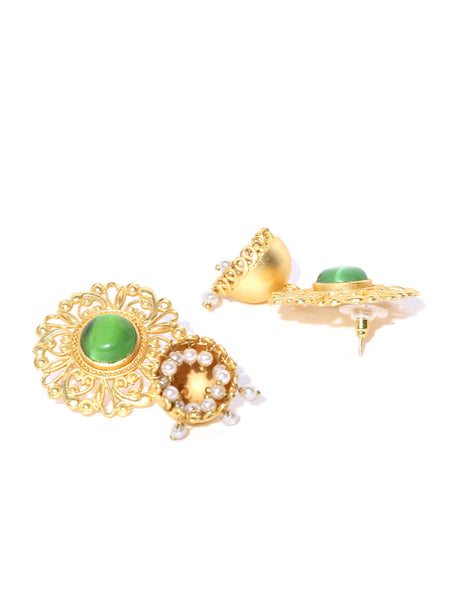 Infuzze Green Gold-Plated Handcrafted Stone Studded Beaded Dome Shaped Jhumkas - PR0081