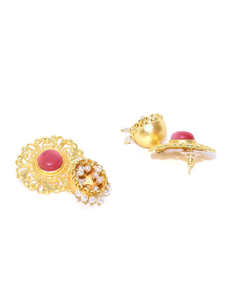 Infuzze Pink Gold-Plated Stone-Studded Handcrafted Dome Shaped Jhumkas - PR0082