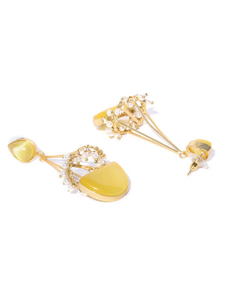 Infuzze Yellow Gold-Plated Handcrafted Stone-Studded Beaded Geometric Drop Earrings - PR0083