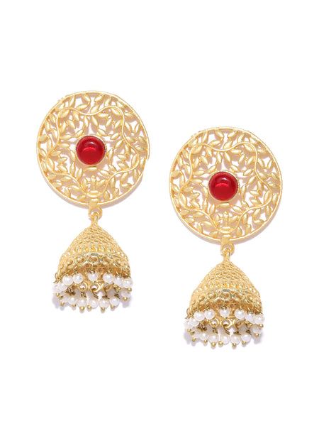 Infuzze Red Gold-Plated Handcrafted Stone Studded Beaded Dome Shaped Jhumkas - PR0086